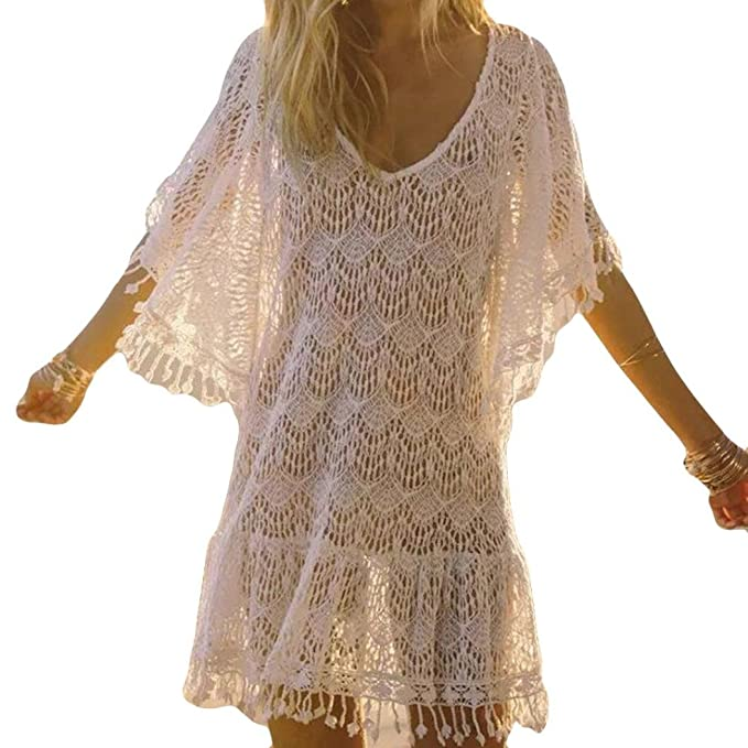 ✬Venmo Frauen Quasten Spitze Aushöhlen Kleid Anzug Bikini Bademode Strand  Badeanzug Smock Kittel Langarm- c80f14adfb