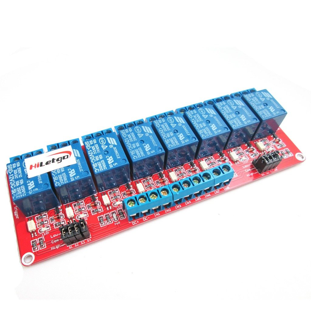 Hiletgo 12v 8 Channel Relay Module With Optocoupler High Sainsmart Wiring Diagram And Low Level Trigger Office Products