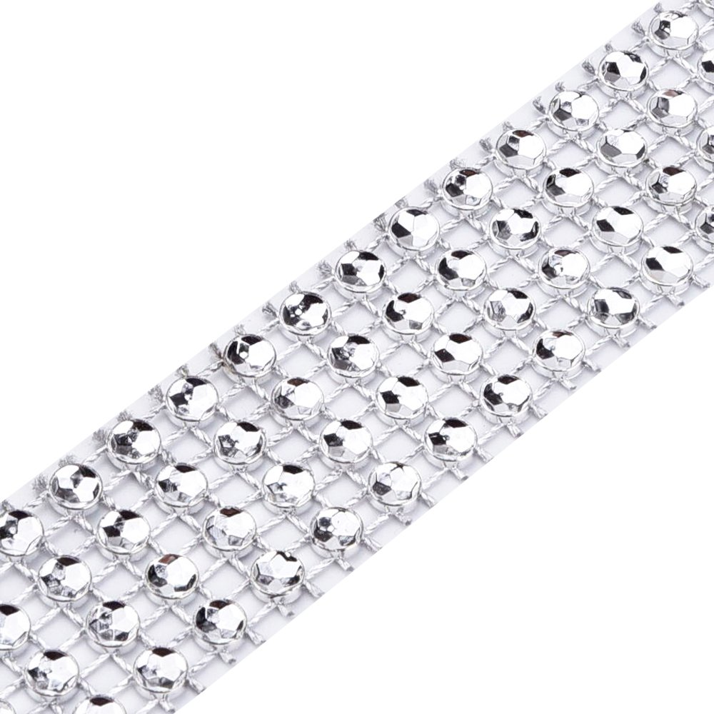 eBoot 4 Row 10 Yard Acrylic Rhinestone Diamond Ribbon for Wedding Cakes Birthday Decorations Gold Baby Shower Events and Arts and Crafts Projects