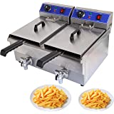 Iglobalbuy 20L Commerical Dual Tank Deep Fryer Stainless Steel w/ Timer and Drainfor Home Fast Food Restaurant