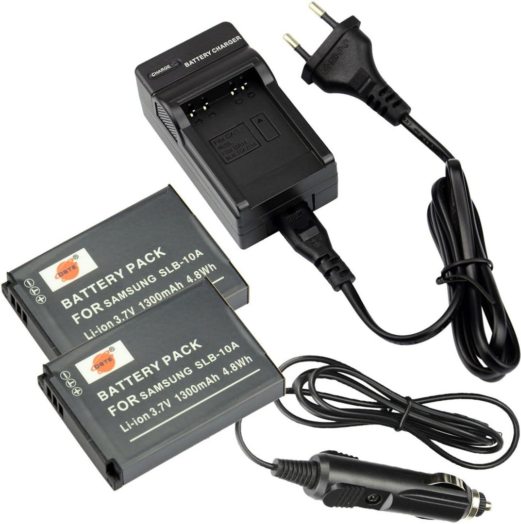 DSTE 2-Pieza Repuesto Batería y DC23E Viaje Cargador kit para Samsung SLB-10A P800 P1000 PL50 PL51 PL55 PL60 PL65 PL70 SL102 SL202 SL310 SL420 SL502 SL620 SL720 SL820 TL9 WB150F WB250F WB350F WB500