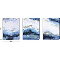 Large Hand-Made Ocean Wall Art for Living Room Bedroom Decoration, Modern Coastal Beach in Marine Blue, Seacape Oil…