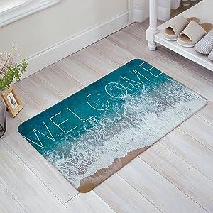 """SIMIGREE Welcome Ocean Beach Theme Door Mats Kitchen Floor Bath Entrance Rug Mat Absorbent Indoor Bathroom Decor Doormats Rubber Non Slip 23.6"""" x 15.7"""""""