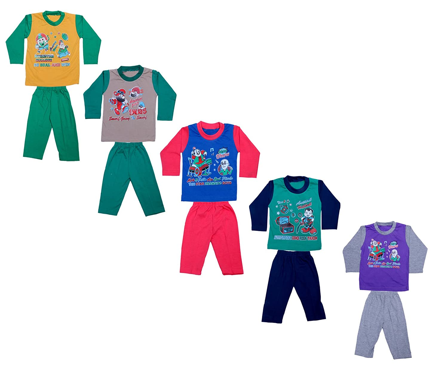 Indistar Kids Pure Cotton Baba Suit (T-Shirt and Bottom) (Pack of 5