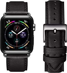 OMIU Square Bands Compatible for Apple Watch 38mm 40mm 42mm 44mm, Genuine Leather Replacement Band Compatible with Apple Watch Series 6/5/4/3/2/1, iWatch SE (Black/Black Connector, 38mm 40mm)