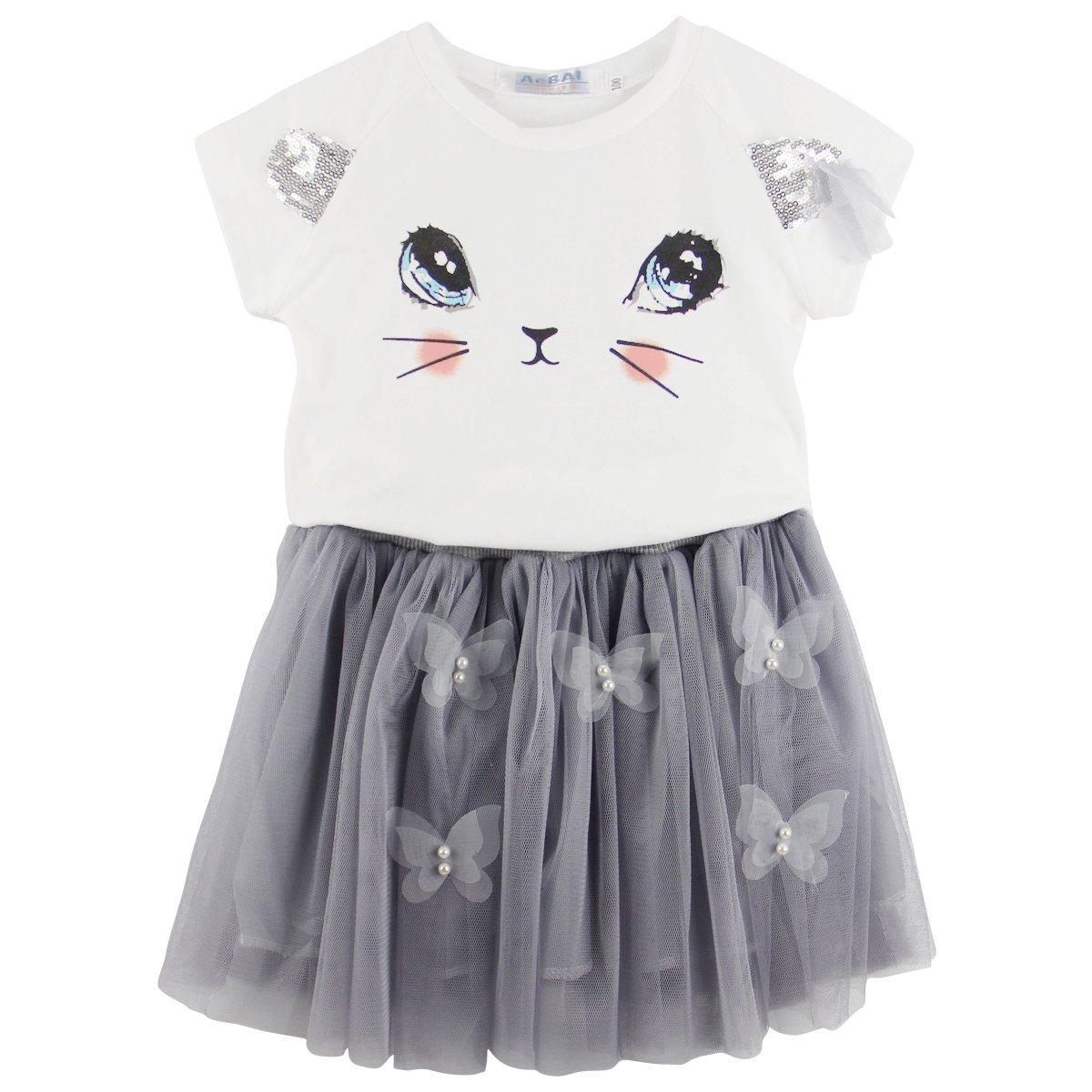 6c3ed3f211ca Amazon.com: Jastore Kids Girls Cute Cat Pattern Clothing Sets Top + Tutu  Skirt: Clothing
