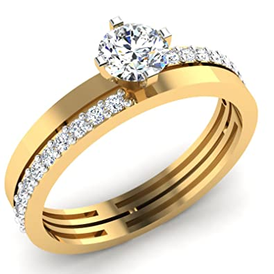 14K White gold lab created diamond engagement rings for women