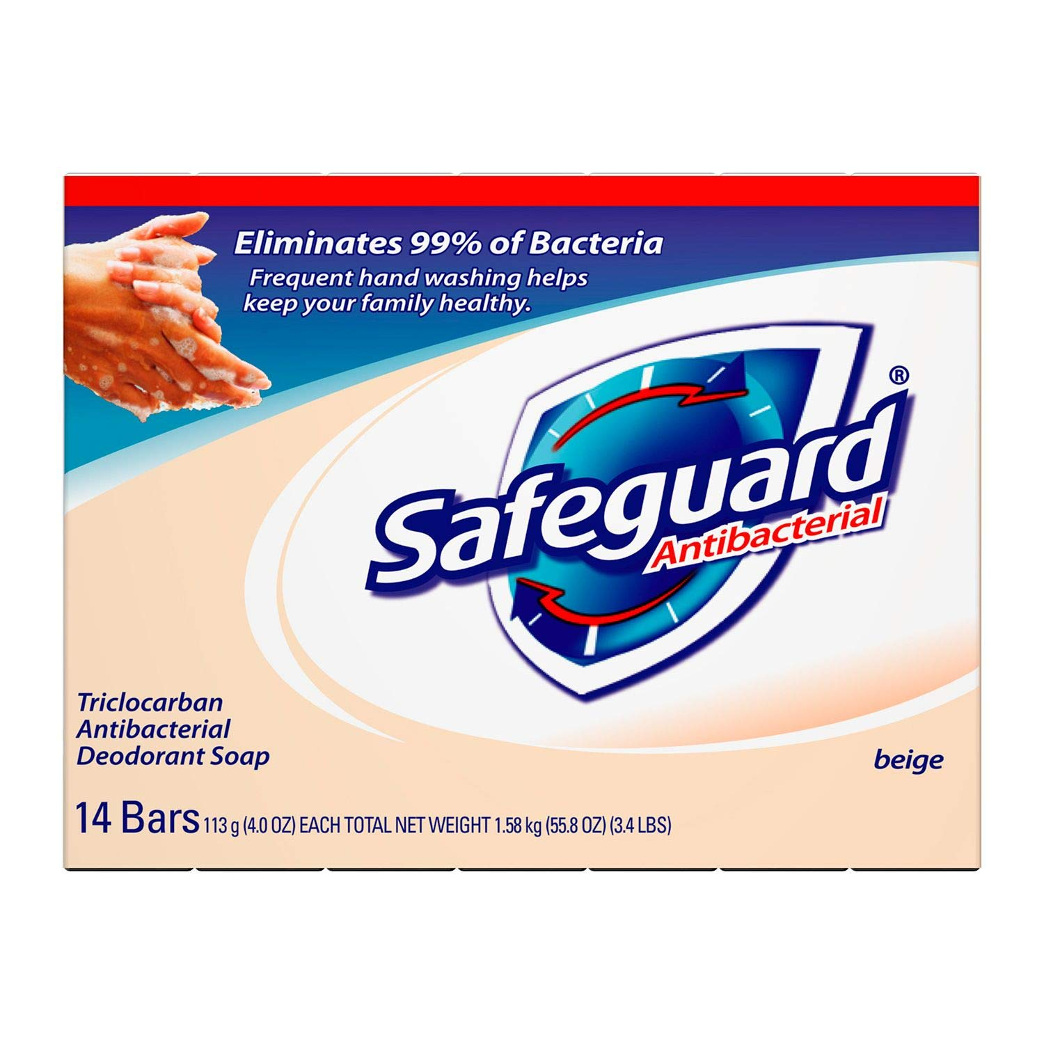 (PACK OF 14 BARS) Safeguard BEIGE Antibacterial Bar Soap for Men & Women. ELIMINATES BACTERIA! Washes Away Dirt & Odor! Healthy Skin for Hands, Face & Body! (14 Bars, 4.00oz Each Bar)