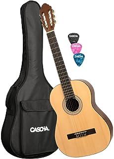 CASCHA HH 2042 Guitarra Clásica 4/4 Bundle, mate natural, tapa de pícea, bolsa acolchada con…