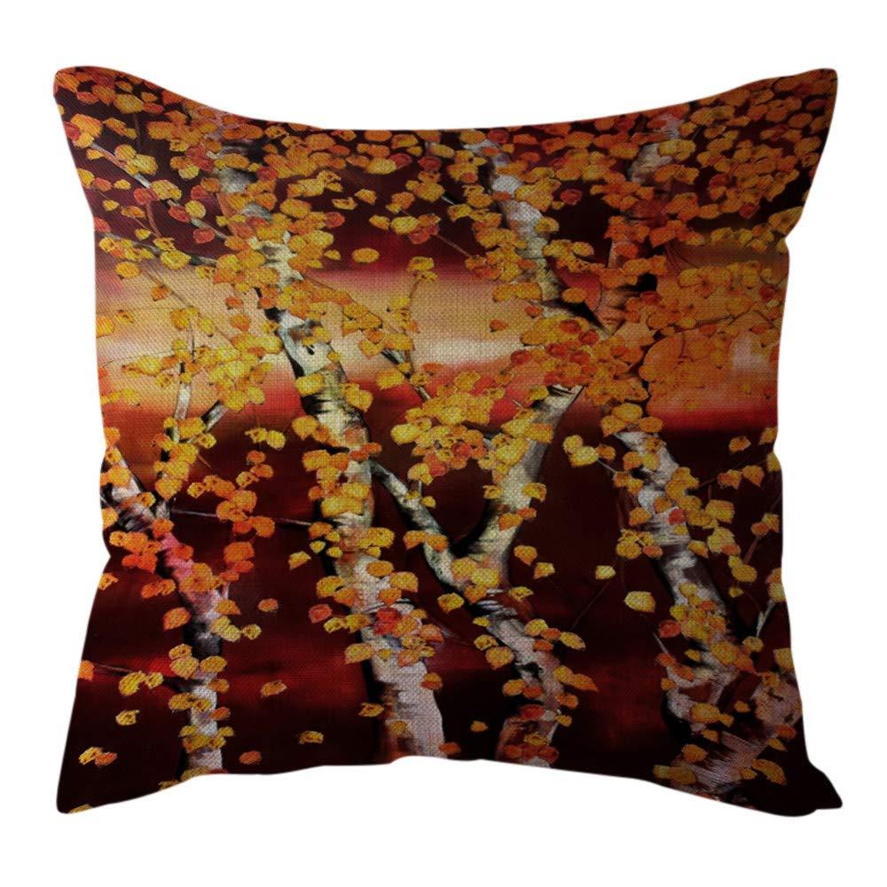 Pgojuni Cotton Linen Butterfly Home Decorative Throw Pillow Case Waist Cushion Throw Pillow Case for Sofa/Couch 1pc 45X45 cm (A)