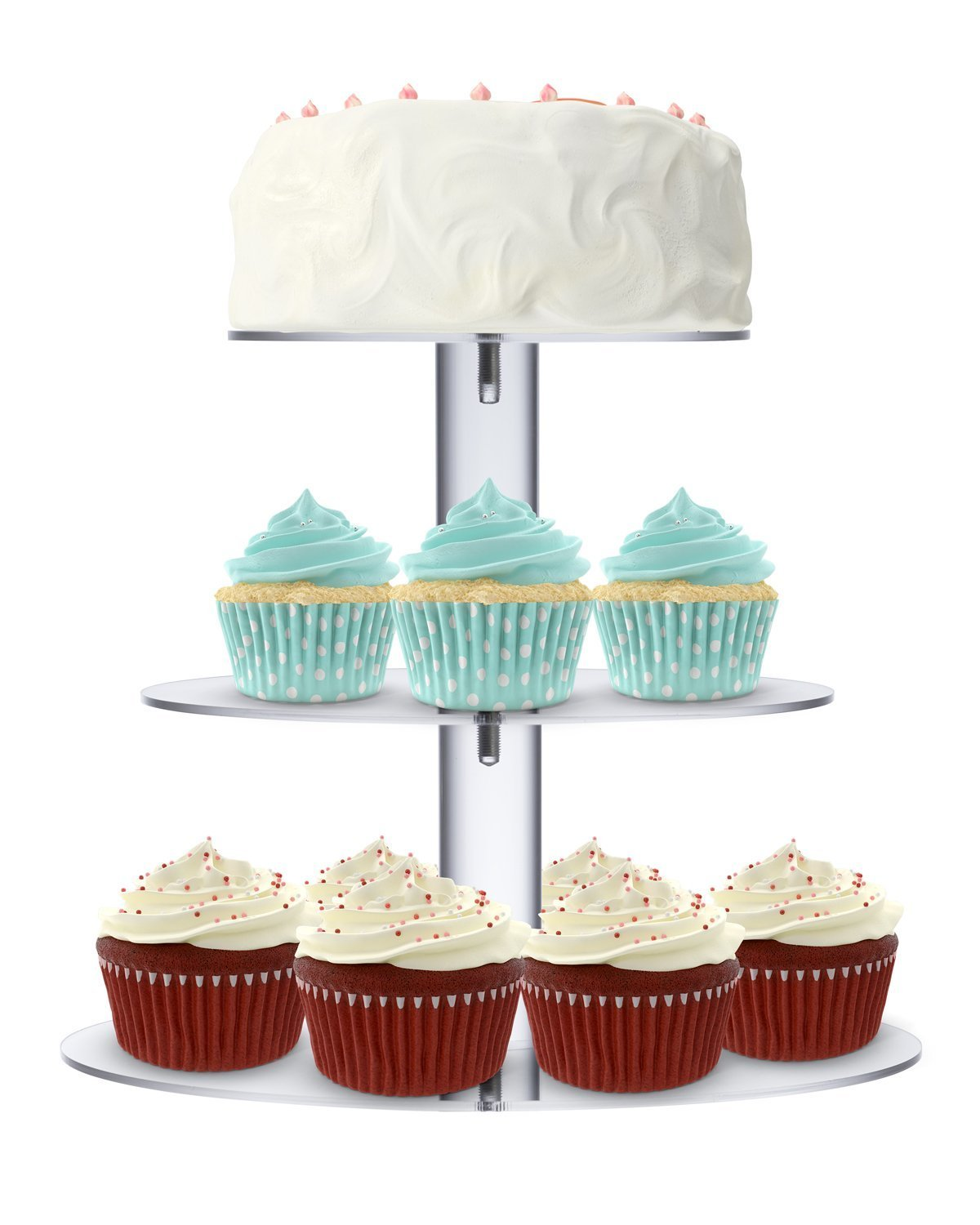 Utenlid Acrylic 3-Tier Round Stacked Party Cupcake Stand with Stable Screw-On Pillars - Tiered Cupcake Stand/Cupcake Tower