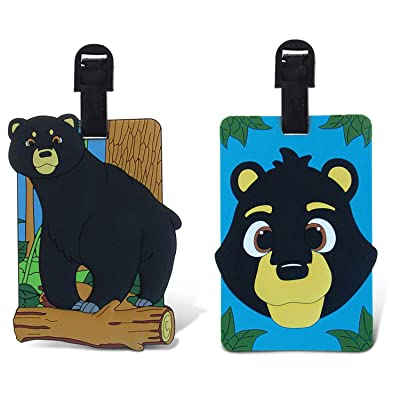 PUZZLED TAGGAGE! WILD BLACK BEAR AND BLACK BEAR LUGGAGE TAG 3.5X5 INCH best