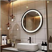 JWZQ Zwart/gouden badkamerspiegel rond met verlichting, 40 cm, 50 cm, 60 cm, 70 cm, 80 cm, 1 x LED-spiegel bad met…