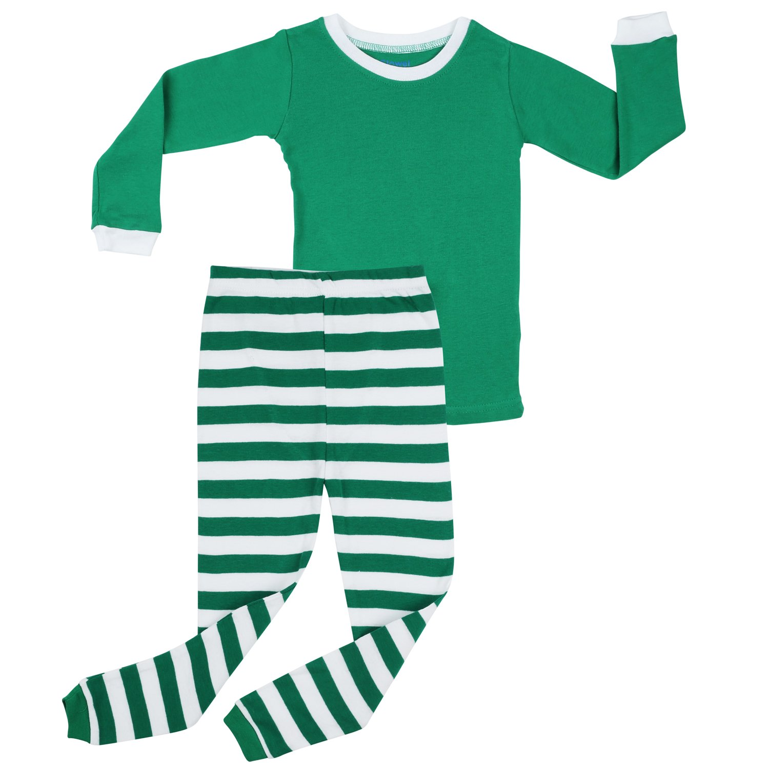 Elowel ボーイズ ガールズ クリスマス Top ストライプ ボーイズ 2点セット クリスマス キッズ パジャマ 綿100% 6M-12Y 6 - 12 Months Green Top & Green White Pants B076GS4PXD, 大阪府:e2645550 --- sharoshka.org