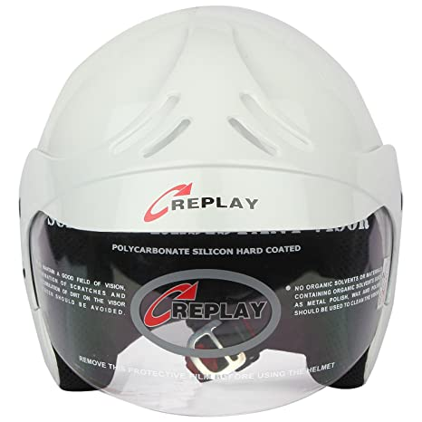 746bef94 Replay Essex Hot Plain Open Face Helmet with Clear Visor (White, M):  Amazon.in: Car & Motorbike