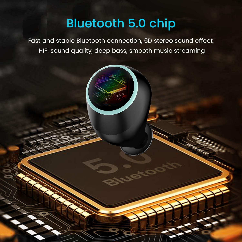 True Wireless Earbuds Bluetooth 5 0 - (2019) TWS Bluetooth Headset Earbuds  HiFi Stereo Sound Binaural HD Call 30Hr Playtime Bluetooth Headphones Sport