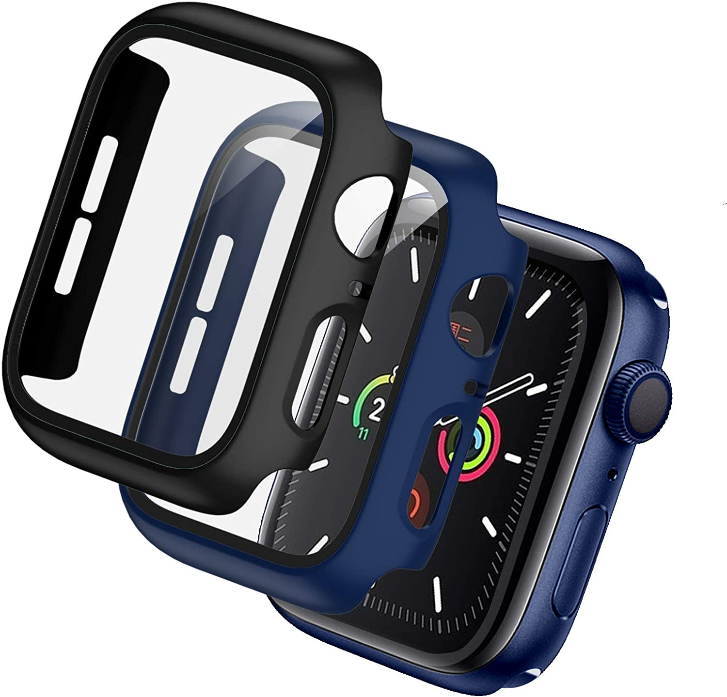 BHARVEST 2 Pack Hard PC Case Compatible with Apple Watch Series 3/2/1 38mm, Case with Tempered Glass Screen Protector Overall Bubble-Free Cover for iWatch Accessories, Black+Blue