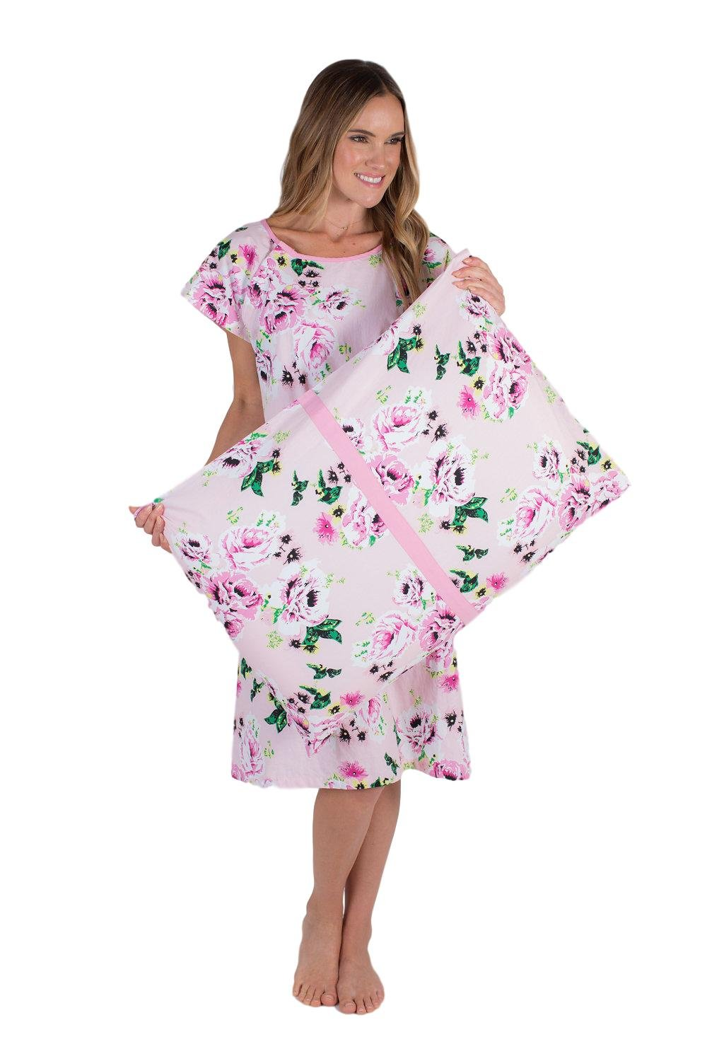 Gownies - Labor and Delivery Maternity Hospital Gown and Pillowcase Set, Hospital Bag Must Have, Best (Small/Medium, Amelia)