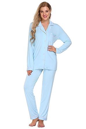 f9fa3d36d PEATAO Women's Soft Pajamas Set, Long Sleeve Long Button Down Sleepwear  (S,Clear