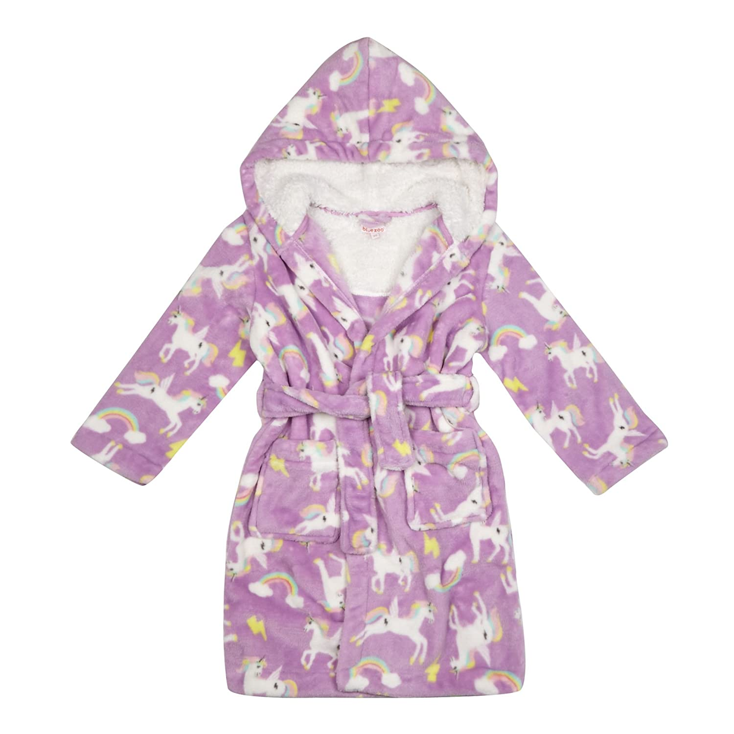 bluezoo Kids Girls\' Lilac Unicorn Print Dressing Gown 18-24 Months ...