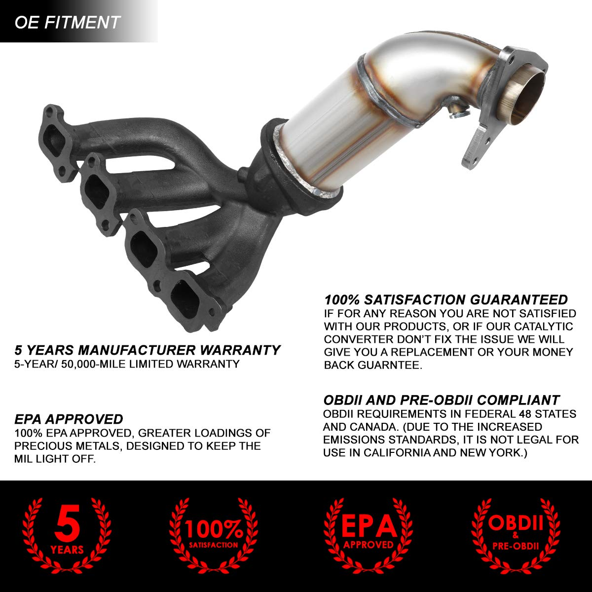 Amazon com: OE Style Catalytic Converter Exhaust Manifold