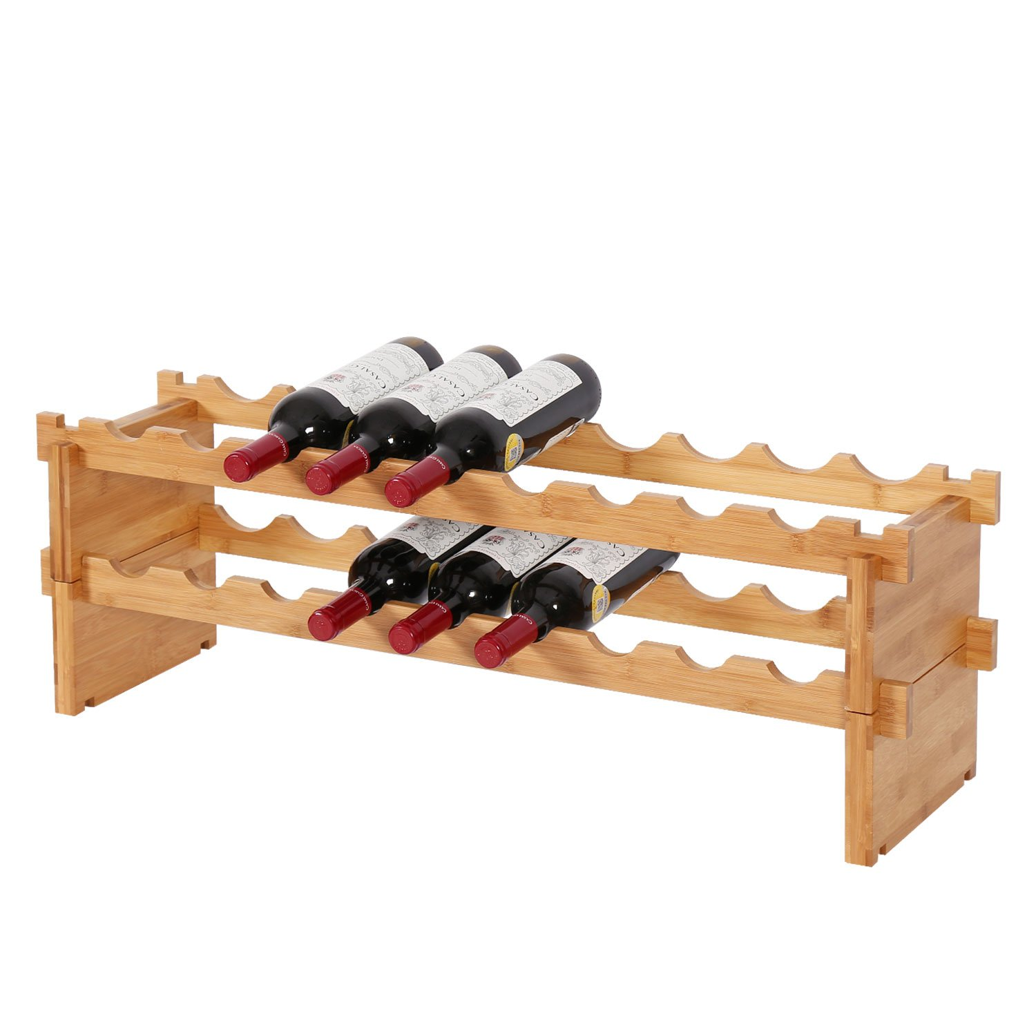 eachtree Press Inc 18-Bottle Bamboo Wine Rack Stackable Wine Holder Storage Display Shelf