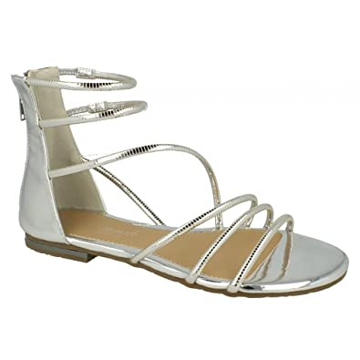 18650c158 Savannah Womens/Ladies Back Zip Metallic Gladiator Sandals (6 UK) (Silver)
