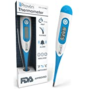 Best FDA Digital Medical Thermometer - Fast Readings in 10 Seconds - Baby Rectal Thermometer - Adult Oral Thermometer - DT-R1221BLU by iProvèn - with Fever Detection - 2018 High Quality