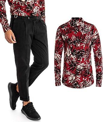 Giosal Outfit - Conjunto de Camisa de fantasía para Hombre, diseño de Hojas Rojas, pantalón y Bolsillo, Color Negro Rojo M: Amazon.es: Ropa y accesorios