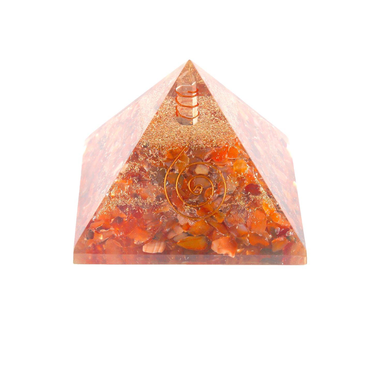 Aatm Gemstone Carnelian Orgone Pyramid (Stone of Self Motivation)