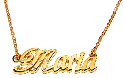 c69f72fe9cffa Amazon.com: Name Necklace Maria - 18K Yellow Gold Plated: Jewelry