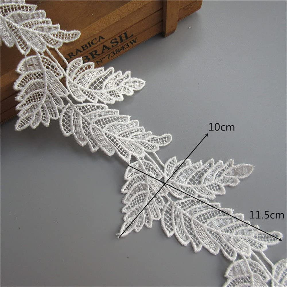 White Flower Lace Trim Applique with Pearl Ribbon 5 Yards 3 Layer Sewing DIY Craft Lace for Festival Wedding Party Birthday Bridal Shower Decoration and DIY Handmade Accessories Flower and Leaf