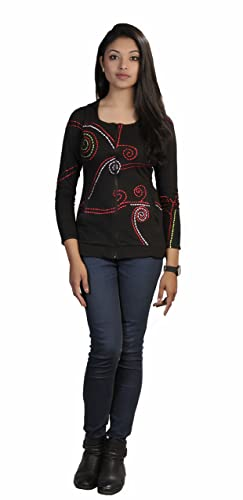 Mujeres chaqueta Negro algodón de manga larga con punteado Espiral Bordado