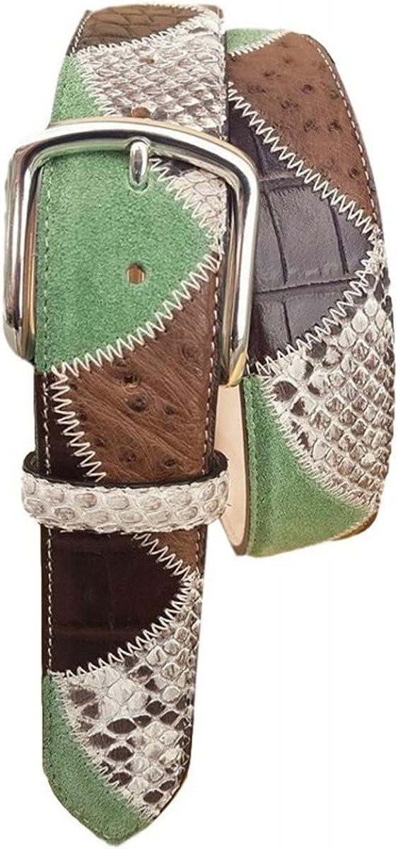ESPERANTO Cinturón de patchwork de 4 cm en pitón y avestruz con forro de Nabuk y hebilla libre de níquel - Color - Verde