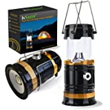 Solar LED Camping Gear Lantern Flashlight by InSassy - Collapsible Lamp Light with Handle Great for Tent Lighting, Long Hikes, Attic, Garage, Emergencies and Outages