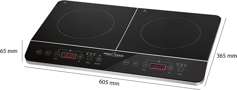 Proficook DKI 1067 Placa de inducción doble portátil, 10 niveles de temperatura, 3500 W, Negro