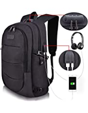 Tzowla Business Laptop Backpack Water Resistant Anti-Theft College Backpack with USB Charging Port and Lock 15.6 Inch Computer Backpacks for Women Girls, Casual Hiking Travel Daypack (Black)