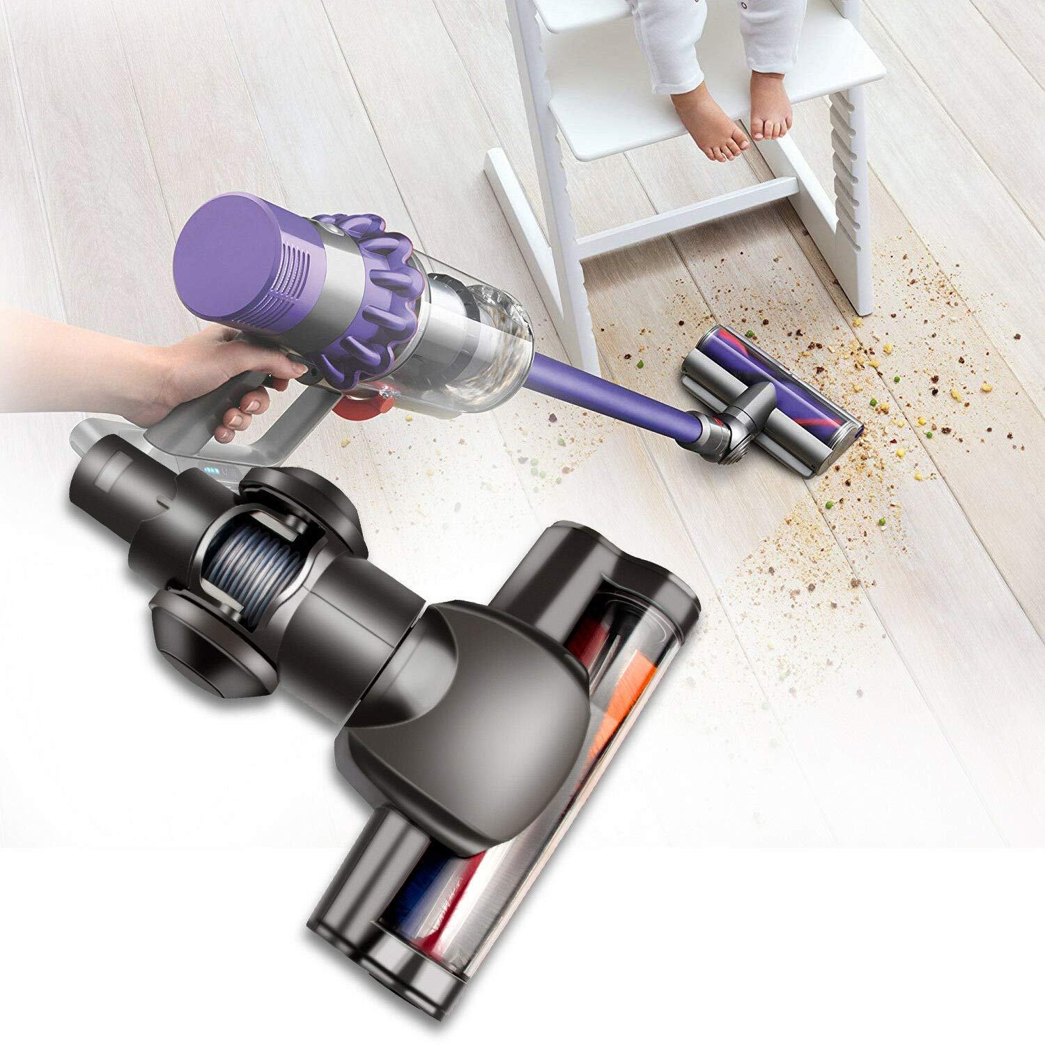 Lovely999 Motorized Floor Head Brush for Dyson DC45 DC58 V6 DC62 DC61 Vacuum Cleaner Longer Performance, Better Filtration.The Inner Brush can be Removed and Clean