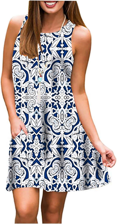 S-3XL Tanst Women Summer Sleeveless Damask Print T-Shirt Dress with Pockets