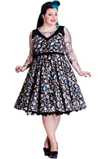 1c9fdc3205f268 Hell Bunny Plus Rockabilly Pinup Nautical Rock Skull & Shark Party Swing  Dress