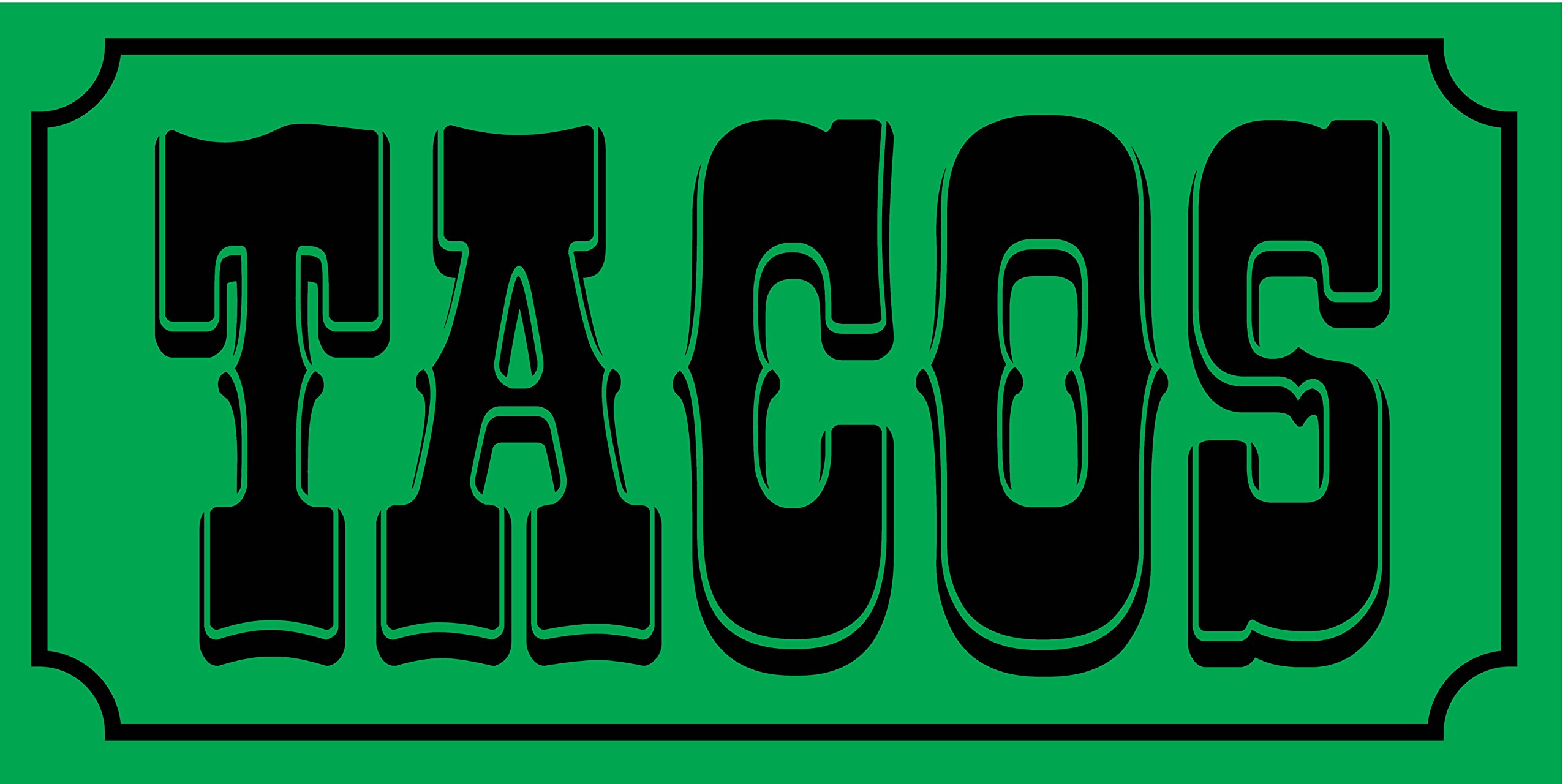 Pre-Printed Tacos Banner - Solid - Green (10' x 5')