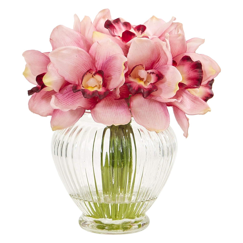 Nearly Natural 1802-PK Cymbidium Orchid Artificial Glass Vase Silk Arrangements Pink
