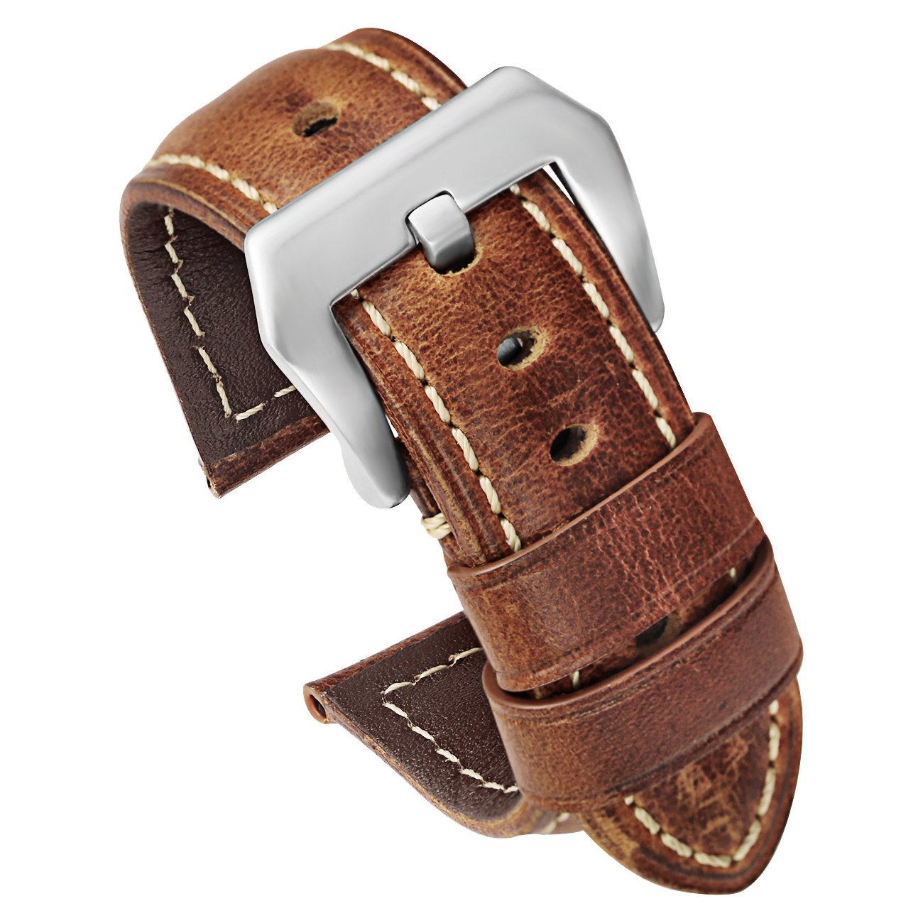 Brown Leather Watch Strap 22mm Replacement Watch Band with Silver Stainless Buckle Calfskin
