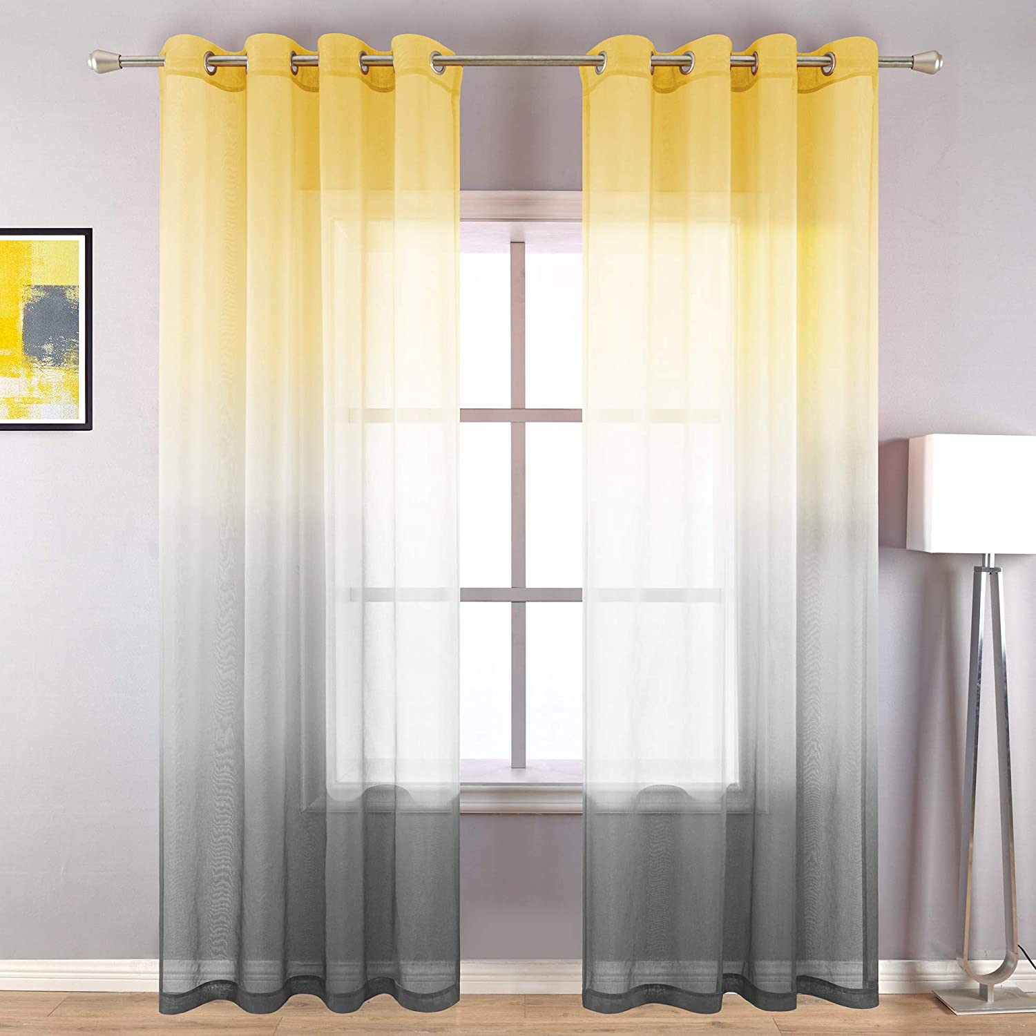 Amazon Com Yellow Curtains 96 Inches Long For Living Room Set Of 2 Panels Grommet Drapes Window Sheer Curtain Panel For Bedroom Dining Room Yellow And Grey Gray 52x96 Inch Length Kitchen