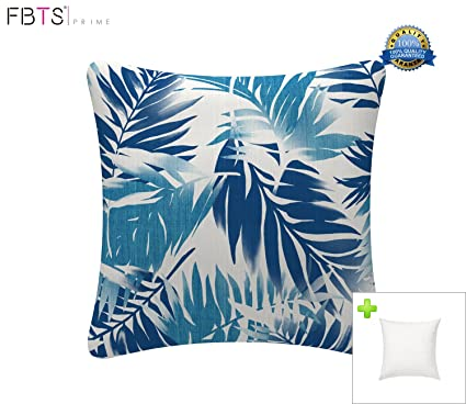 FBTS Prime Outdoor Decorative Pillows With Insert Blue Leaf Patio Accent  Pillows Throw Covers 18x18 Inches