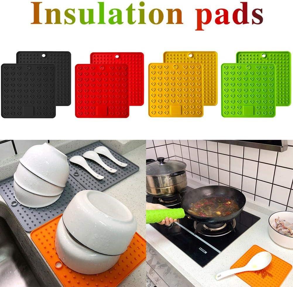 2er Set Topfuntersetzer Silikonmatte Hitzebeständiger Untersetzer Eckig Rutschfestmatte 18.5cmx18.5cm für Küche Tasse Schüssel Töpfe FDA Zugelassen Gelb