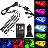 Car LED Strip Light, Topled Car Interior LED Lights Music Sync Underdash Lighting Kit RGB LED Tape Lights with 20 Keys Wireless Remote and Dual Smart USB Port for Truck Van Lorry Jeep(4 x 8.66in)