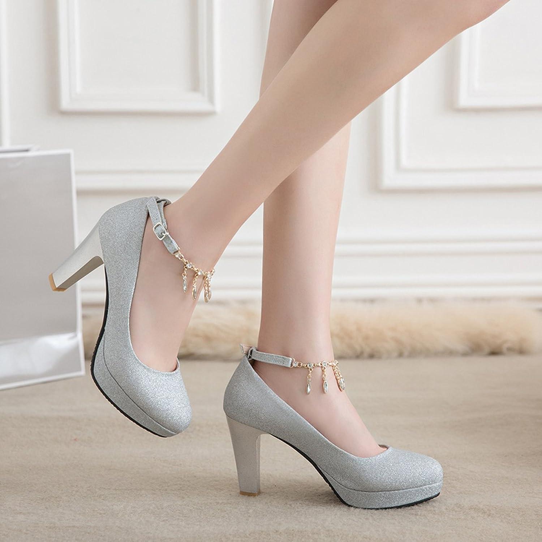 CHNHIRA Women's Summer Bright Court Shoes Block High Heel Metal Chain Tassel:  Amazon.co.uk: Shoes & Bags