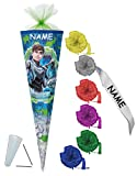 Schultüte - Max Steel 70 cm - incl. NAMEN und individueller SCHLEIFE - mit / ohne Kunststoff Spitze - Filzabschluß - Zuckertüte Nestler - für Jungen Superheld Transformer Cytro Aktion Figur
