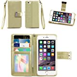 iPhone 6S Case / iPhone 6 Case, IZENGATE [Classic Series] Wallet Case Premium PU Leather Flip Cover Folio with Stand for Apple iPhone 6 (2014) / Apple iPhone 6S (2015) (Light Gold)